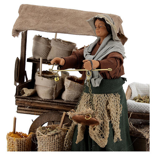 Animated plant seed seller woman 14 cm Neapolitan nativity 2