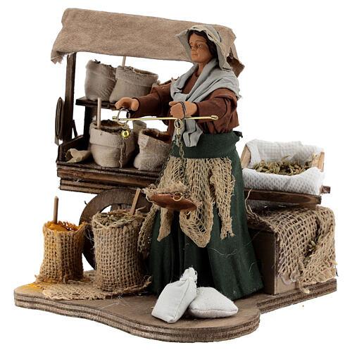 Animated plant seed seller woman 14 cm Neapolitan nativity 3
