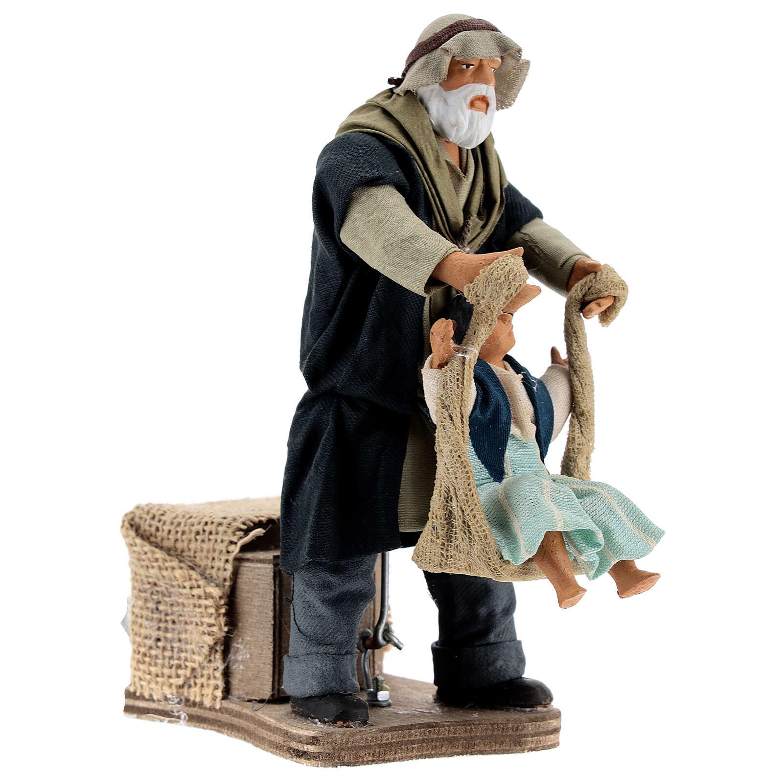 Movimiento hombre que juega con niña Nápoles 14 cm 4