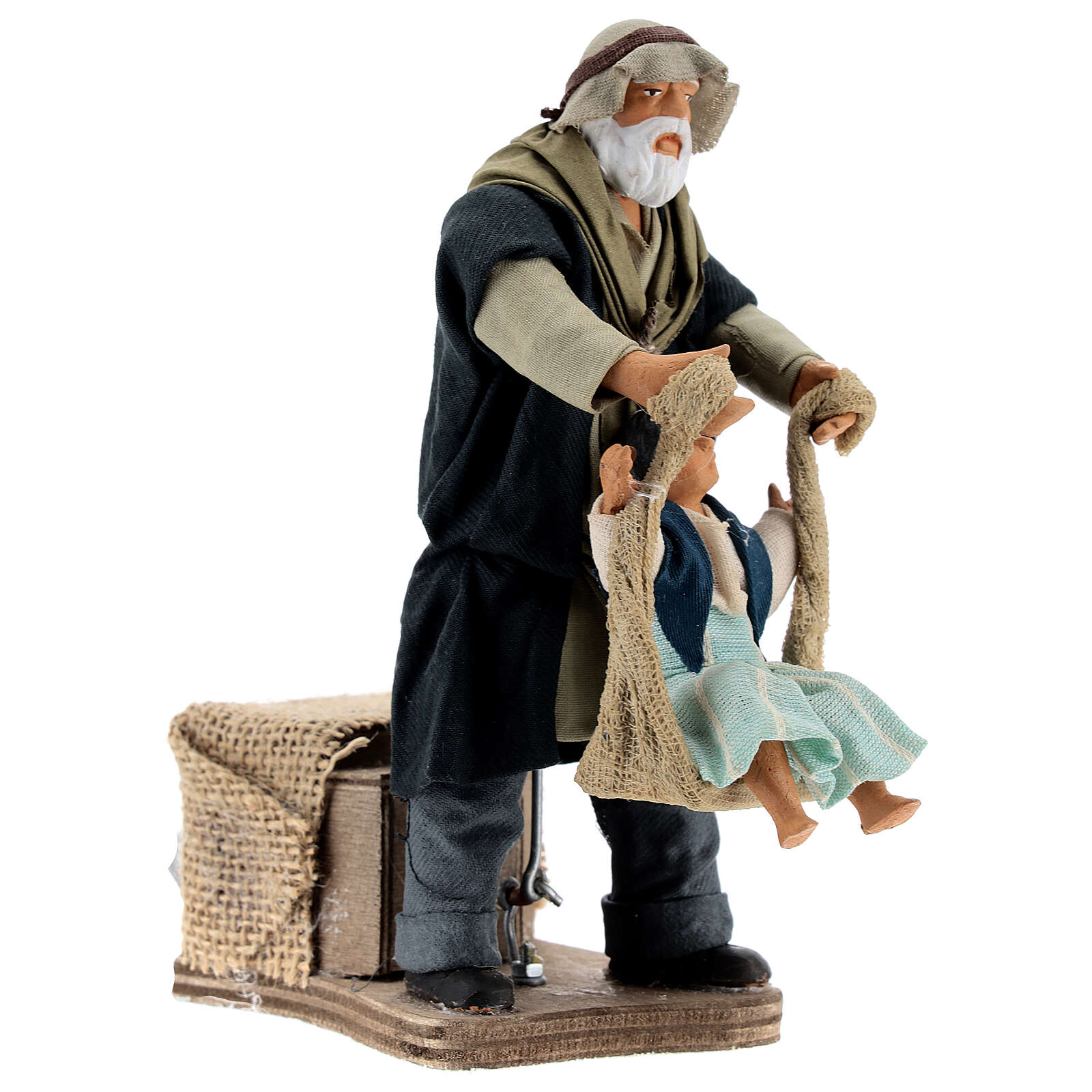 Animated man playing with girl 14 cm Neapolitan nativity 4