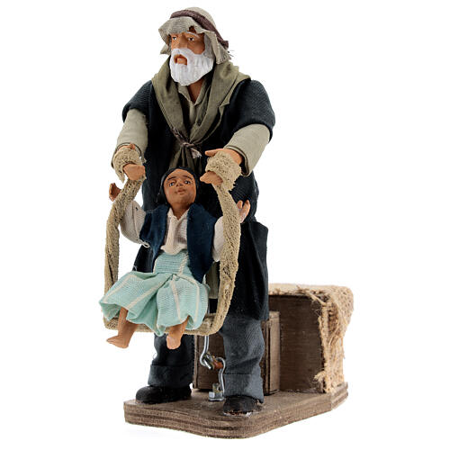 Animated man playing with girl 14 cm Neapolitan nativity 2
