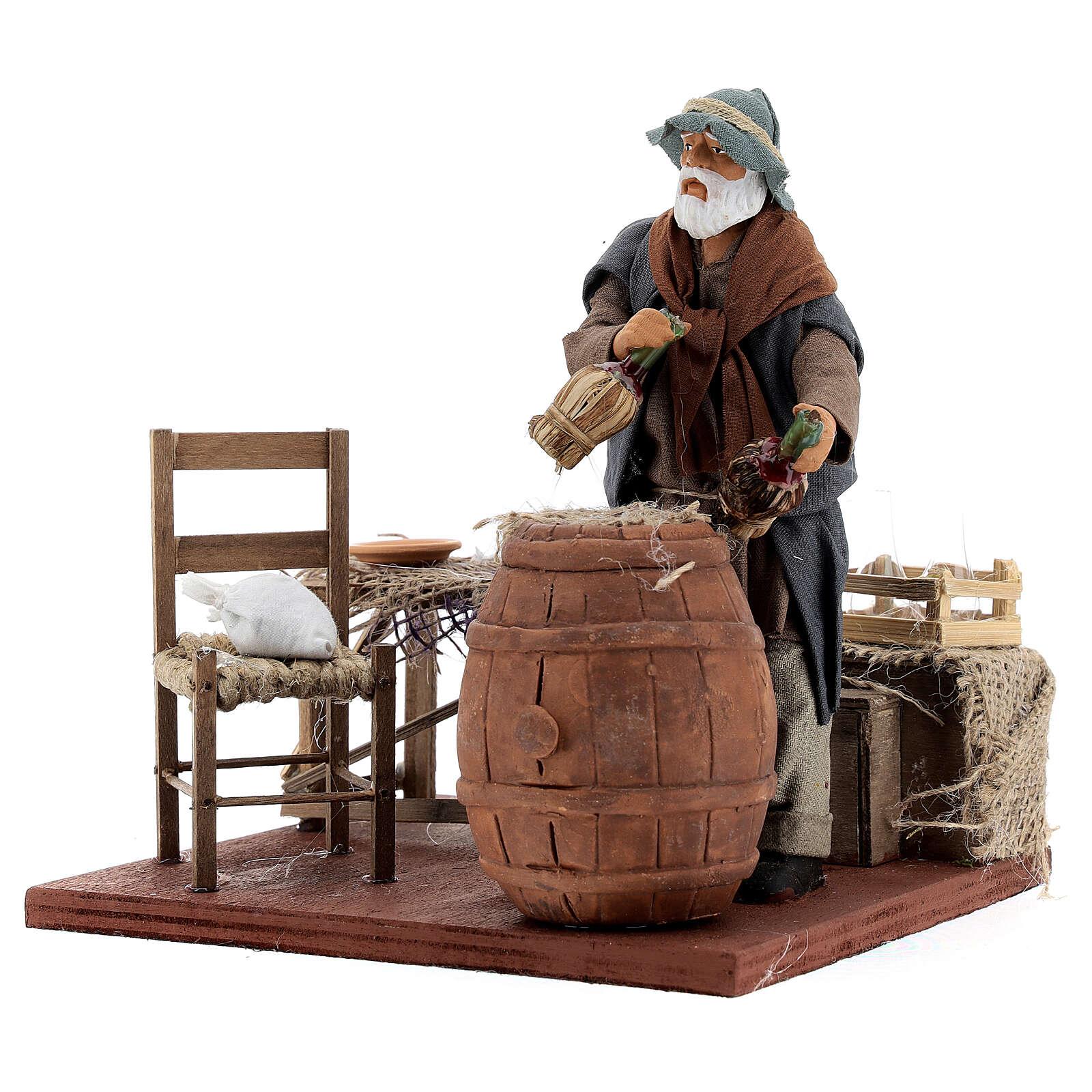 Drunk in a tavern animated Neapolitan nativity 14 cm 4