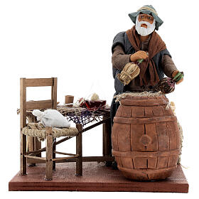 Drunk in a tavern animated Neapolitan nativity 14 cm s5