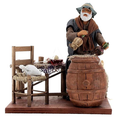 Drunk in a tavern animated Neapolitan nativity 14 cm 5