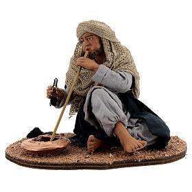Man blowing a fire figurine 30 cm Neapolitan nativity s1