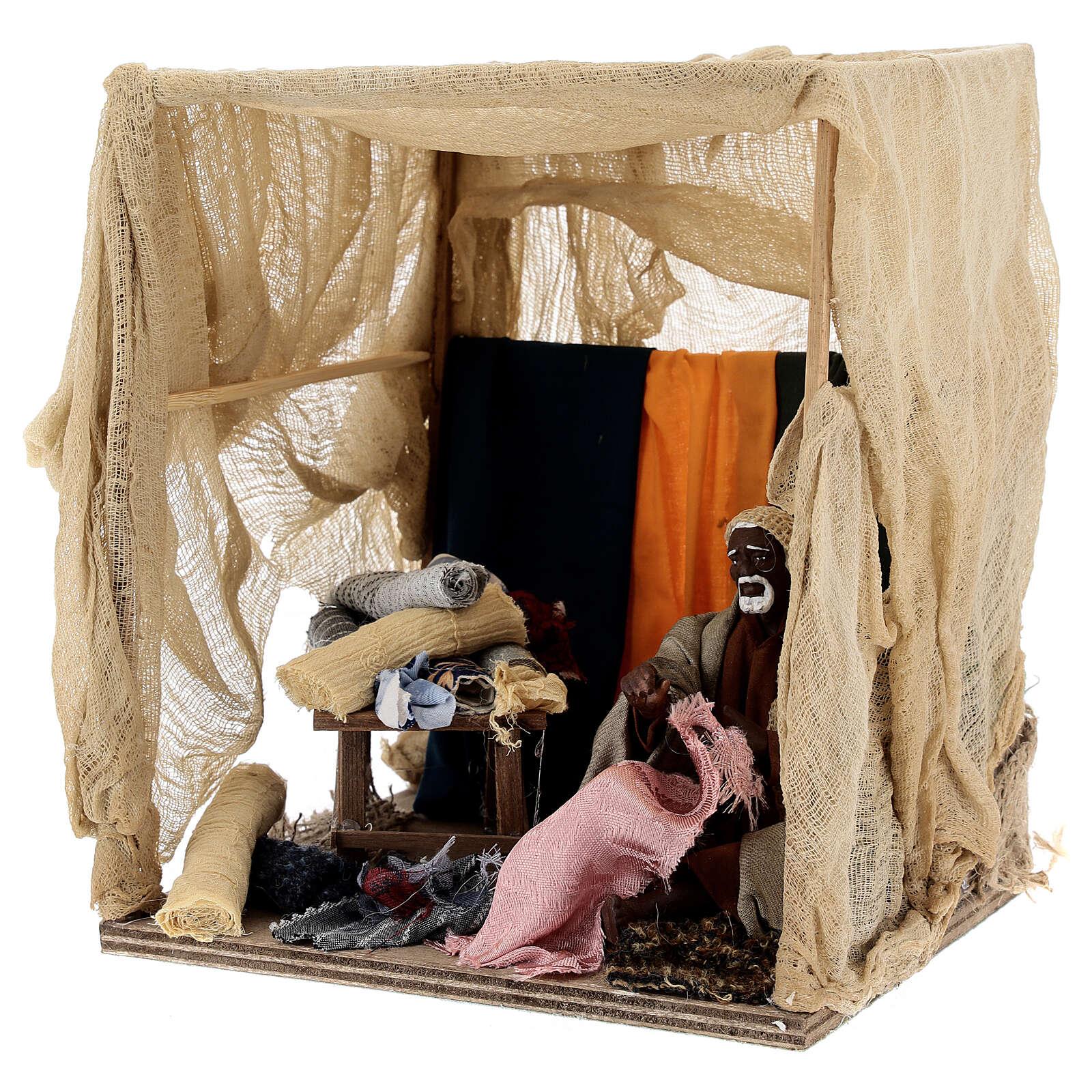 Animated curtain seller 14 cm Neapolitan nativity 4