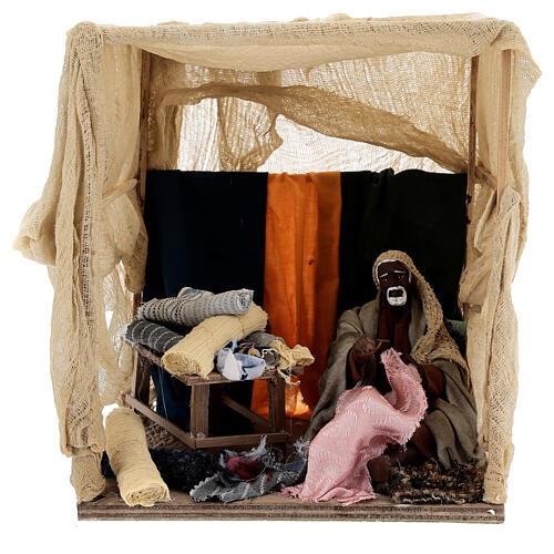Animated curtain seller 14 cm Neapolitan nativity 1