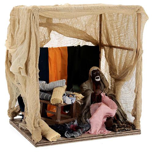 Animated curtain seller 14 cm Neapolitan nativity 3