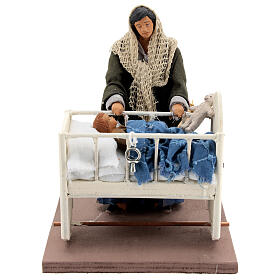 Animated woman with baby in crib 14 cm Neapolitan nativity s1