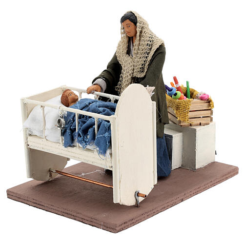 Animated woman with baby in crib 14 cm Neapolitan nativity 2
