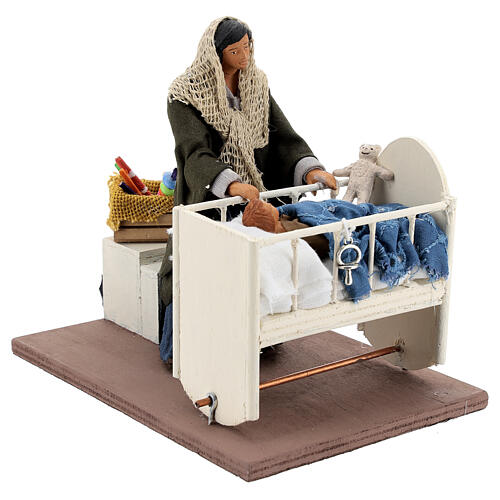 Animated woman with baby in crib 14 cm Neapolitan nativity 3
