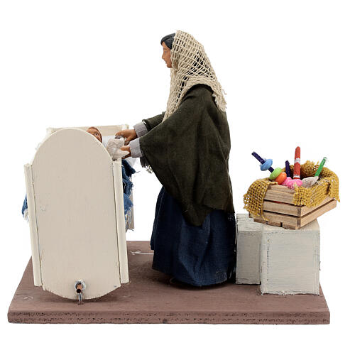 Animated woman with baby in crib 14 cm Neapolitan nativity 5