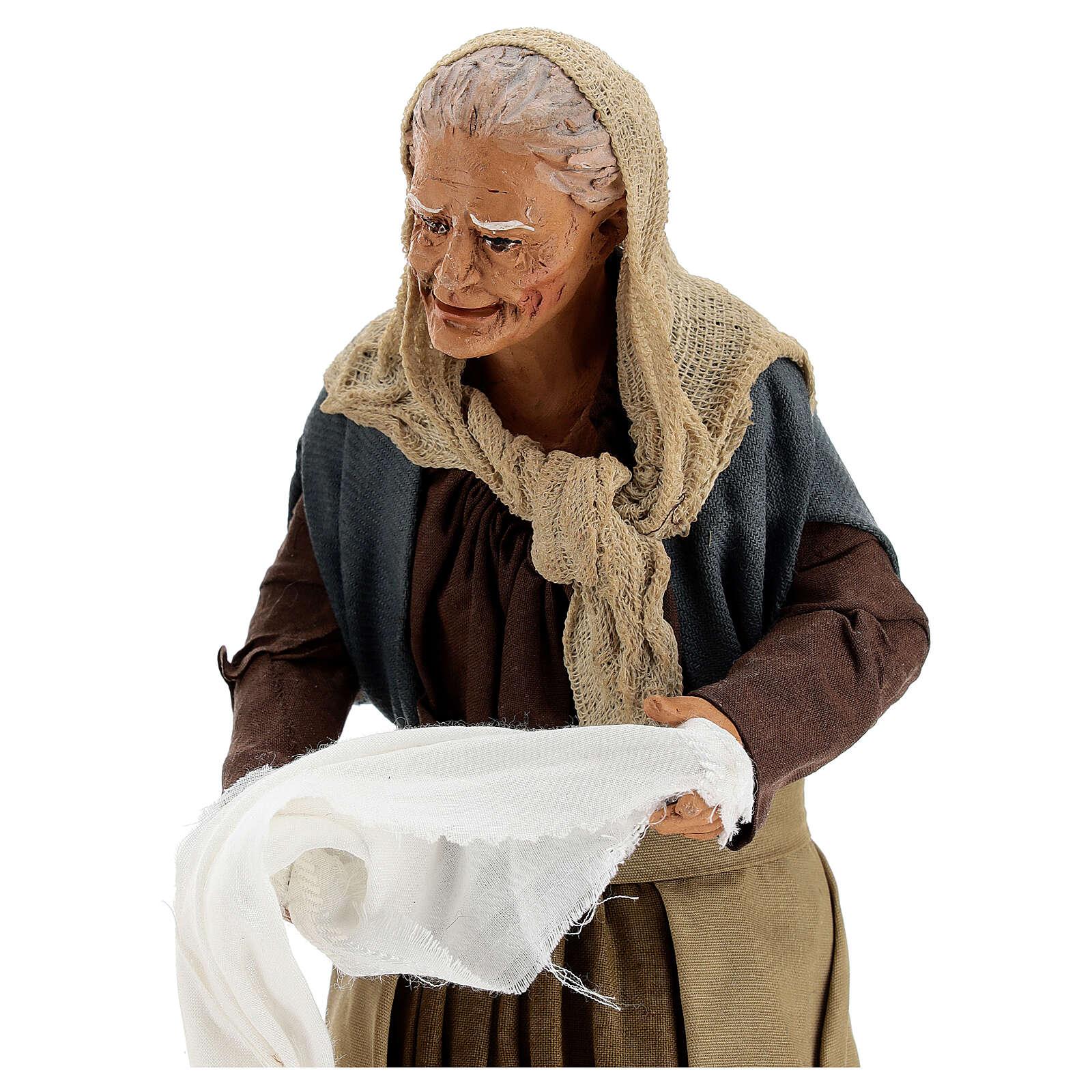Mulheres torcendo um pano para presépio napolitano com figuras de altura média 30 cm 4