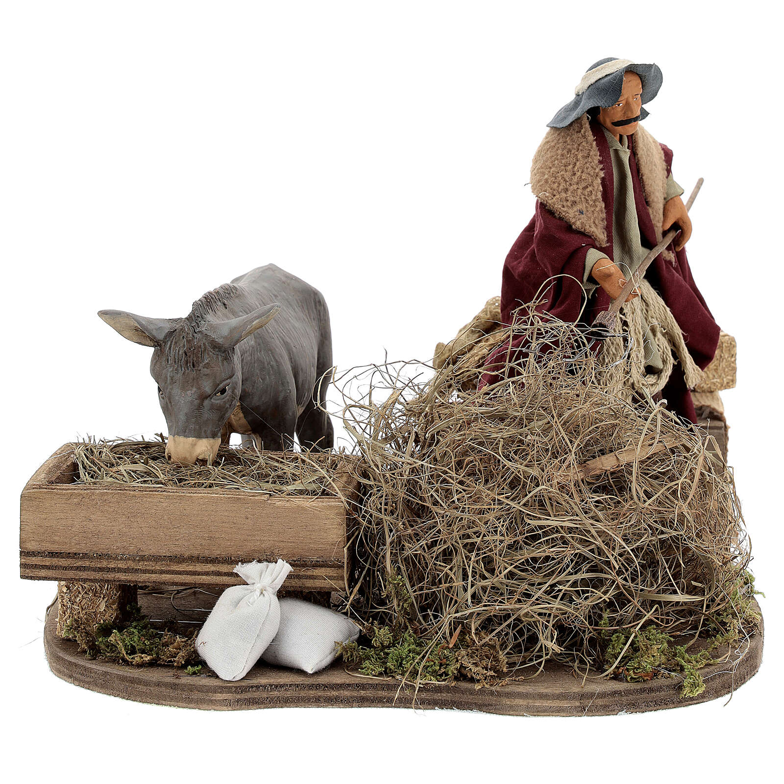 Animated nativity shepherd with straw, 14 cm Neapolitan nativity 4