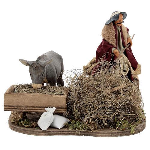 Animated nativity shepherd with straw, 14 cm Neapolitan nativity 1