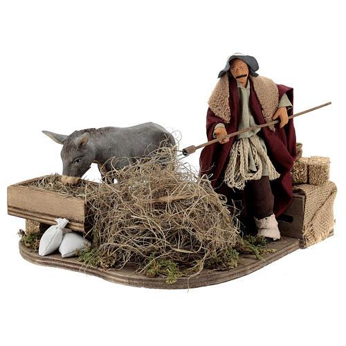 Animated nativity shepherd with straw, 14 cm Neapolitan nativity 2