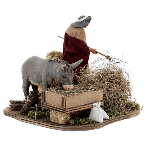 Animated nativity shepherd with straw, 14 cm Neapolitan nativity 3