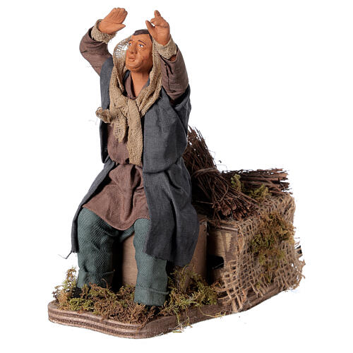 Animated man watching stars terracotta Neapolitan nativity 14 cm 2