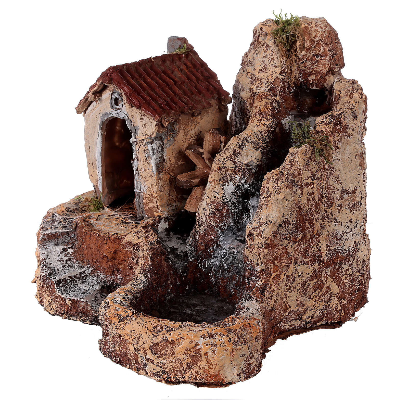 Waterfall with resin water mill 20x30x30 cm Neapolitan Nativity scene 6-8 cm 4