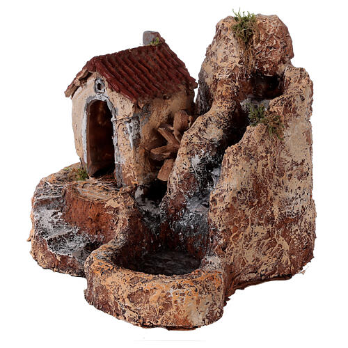 Waterfall with resin water mill 20x30x30 cm Neapolitan Nativity scene 6-8 cm 3