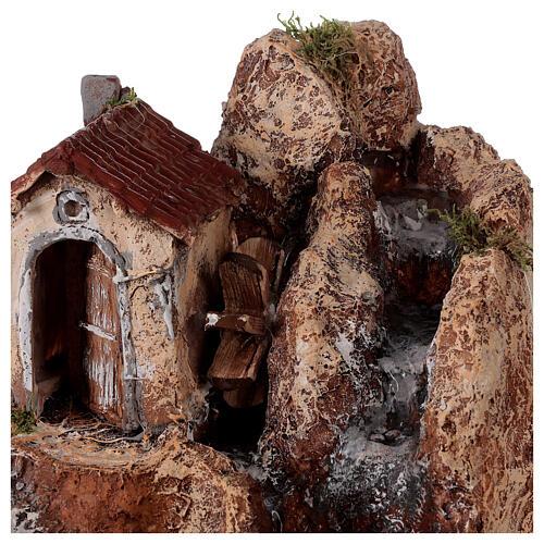 Chute d'eau et moulin résine 20x30x30 cm crèche napolitaine 6-8 cm 2
