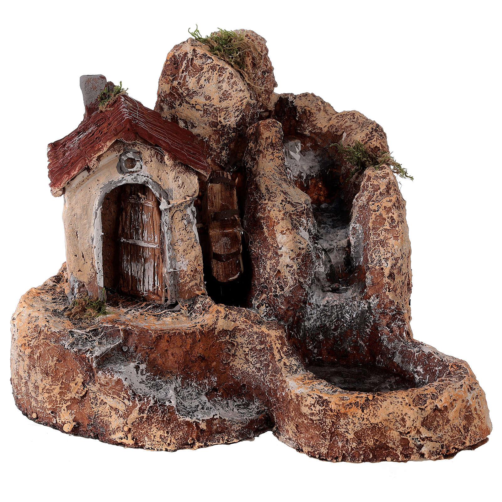 Cascata mulino acqua resina 25x30x30 cm presepe napoletano 6-8 cm 4