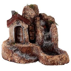 Cascata mulino acqua resina 25x30x30 cm presepe napoletano 6-8 cm s1