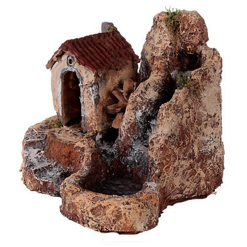 Cascata mulino acqua resina 25x30x30 cm presepe napoletano 6-8 cm 3