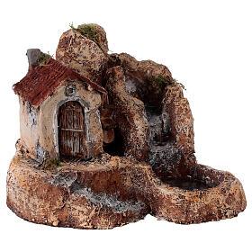 House watermill resin 20x30x30 cm Neapolitan nativity 6-8 cm s4