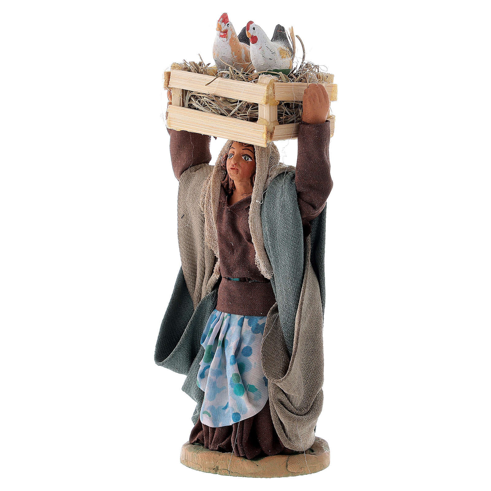 Woman with hen box 10 cm Neapolitan nativity 4