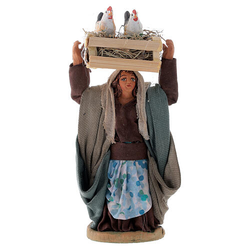Woman with hen box 10 cm Neapolitan nativity 1