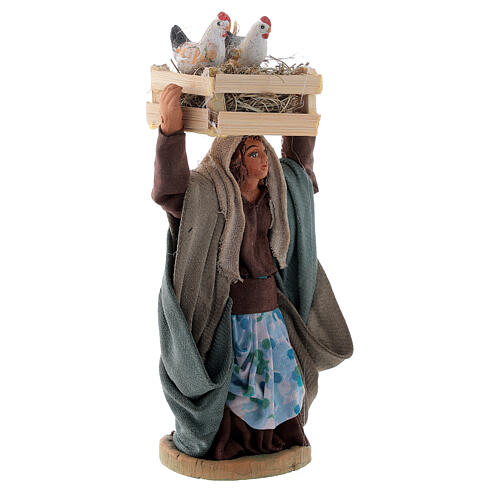 Woman with hen box 10 cm Neapolitan nativity 3