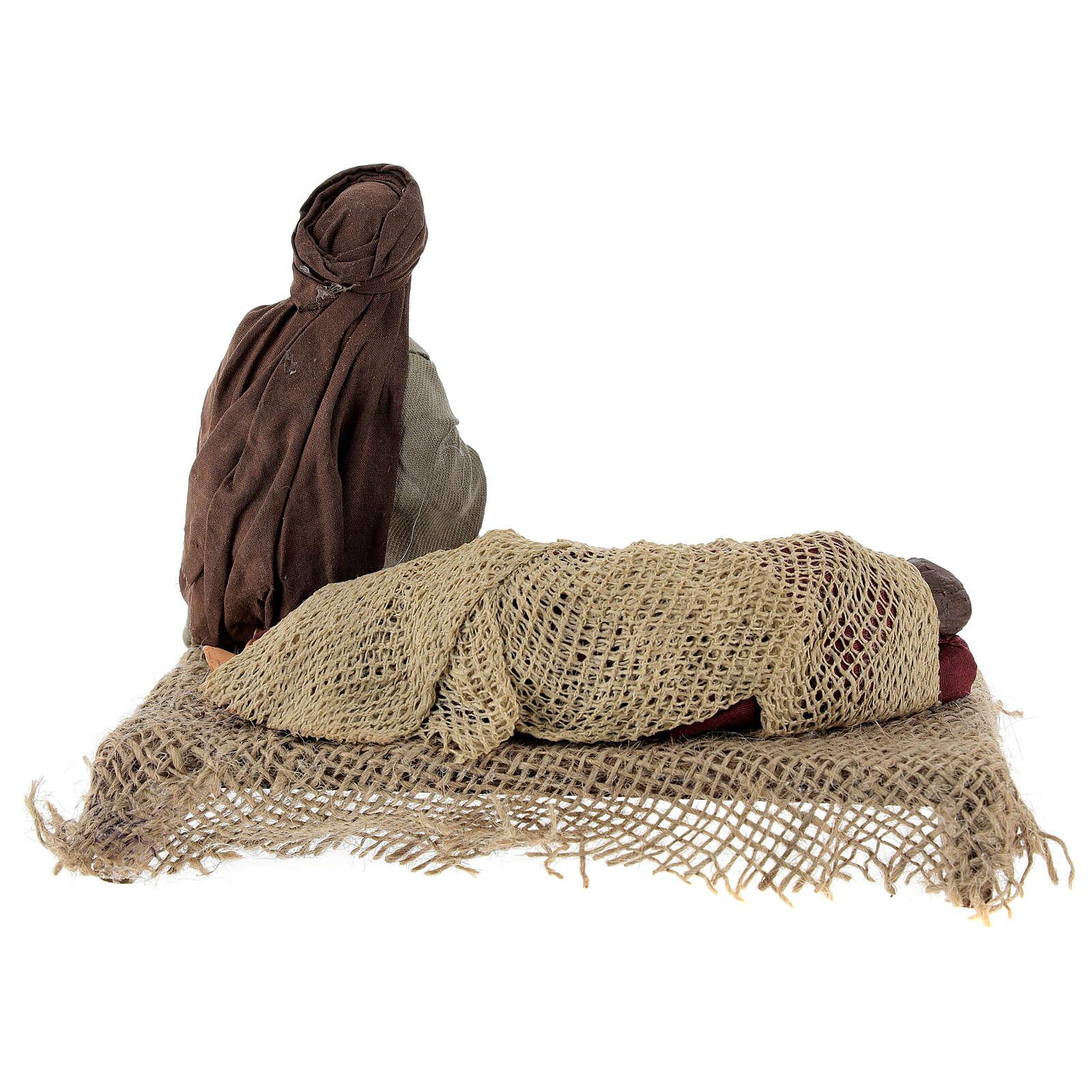 Natività con Madonna che riposa presepe napoletano 15 cm 4