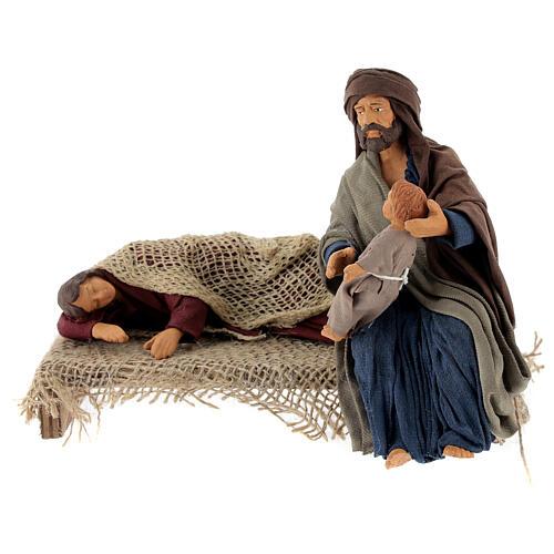 Natività con Madonna che riposa presepe napoletano 15 cm 1