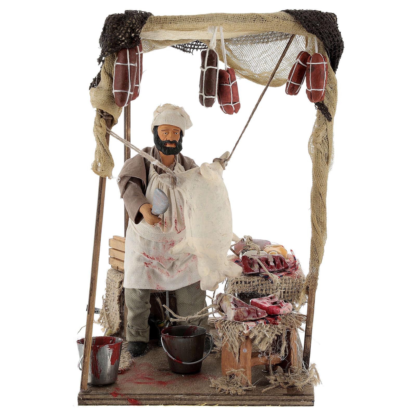 Macellaio che lavora maiale movimento per presepe napoletano 14 cm 4