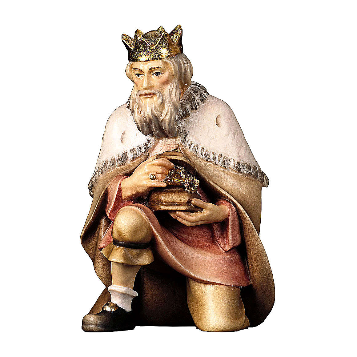 Re magio inginocchiato per presepe Original Pastore legno dipinto in Valgardena 10 cm 4
