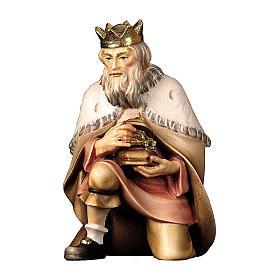 Re magio inginocchiato per presepe Original Pastore legno dipinto in Valgardena 10 cm s1