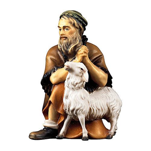 Pastore inginocchiato con pecora per presepe Original Pastore legno dipinto in Valgardena 10 cm 1