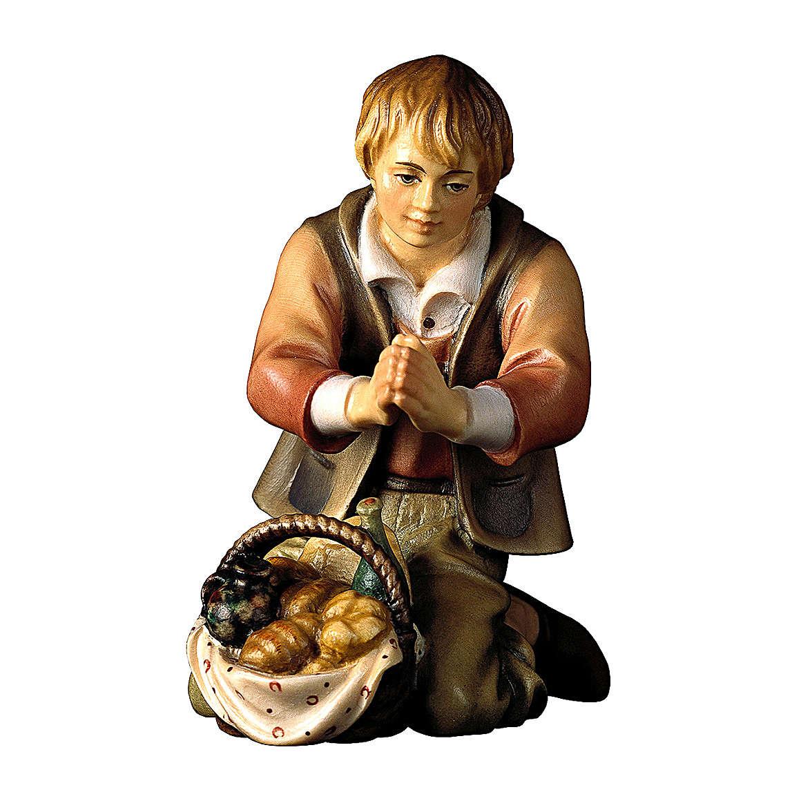 Pastore inginocchiato con pane per presepe Original Pastore legno dipinto in Valgardena 10 cm 4