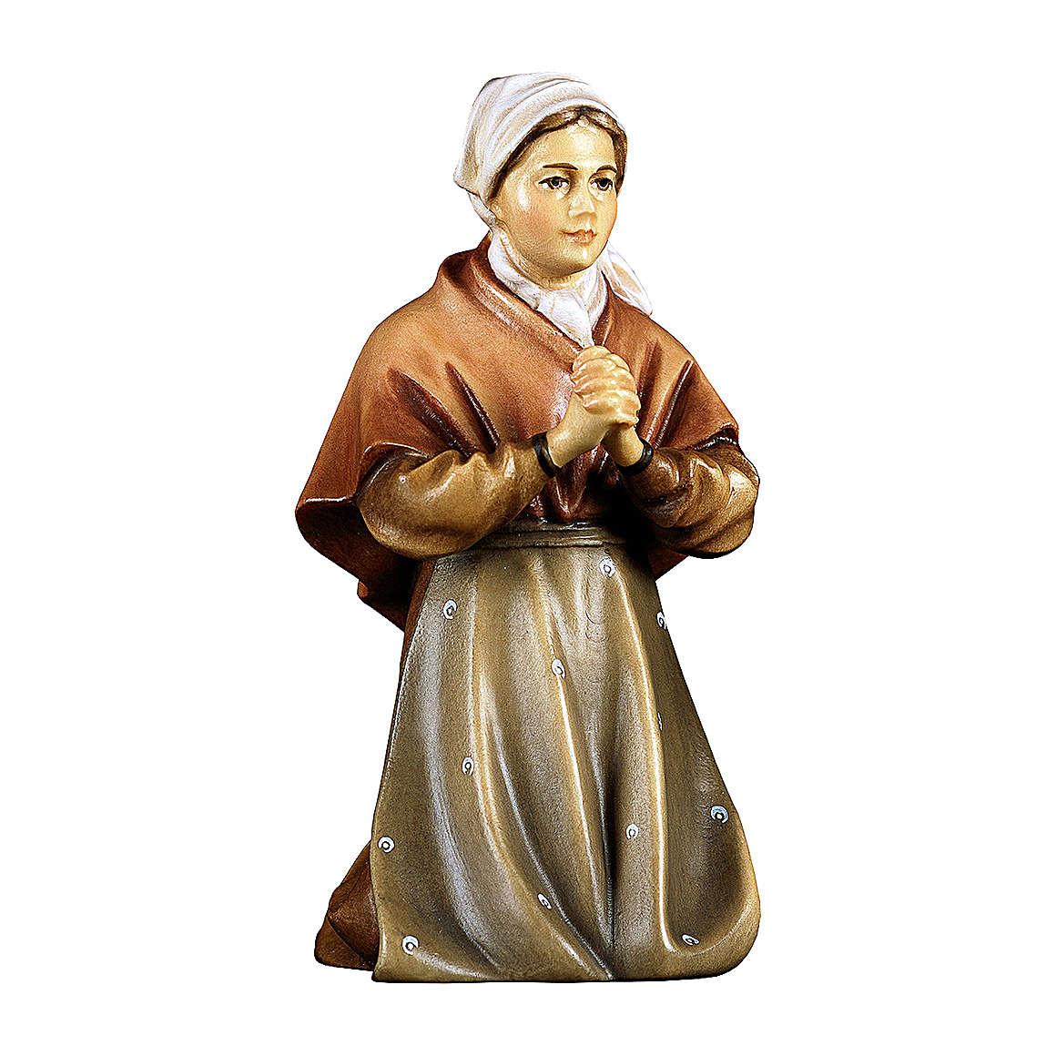 Contadina che prega inginocchiata per presepe Original Pastore legno dipinto in Valgardena 10 cm 4