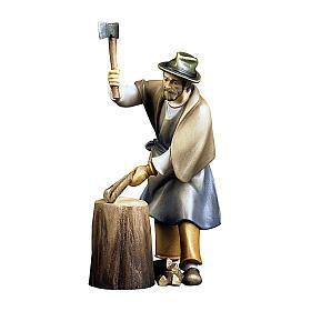 Boscaiolo con ceppo di legno presepe Original Pastore legno dipinto in Val Gardena 12 cm s1