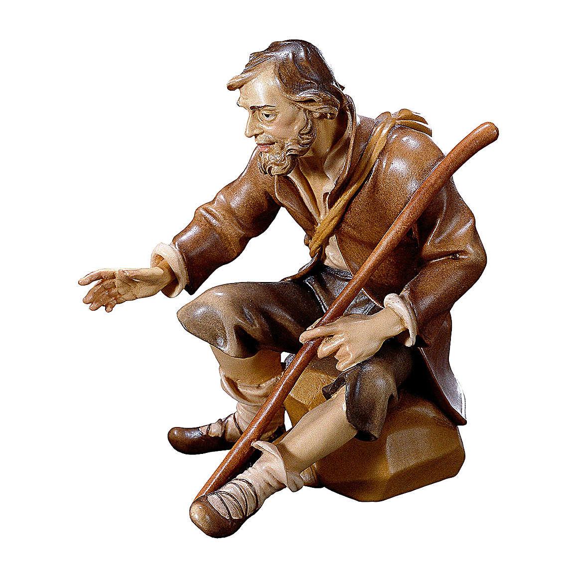 Pastore seduto con bastone per presepe Original Pastore legno dipinto in Valgardena 10 cm 4