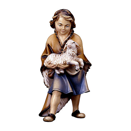 Bambino con agnello per presepe Original Pastore legno dipinto in Valgardena 10 cm 1