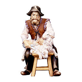 Pecoraio seduto presepe Original Pastore legno dipinto in Val Gardena 12 cm s1
