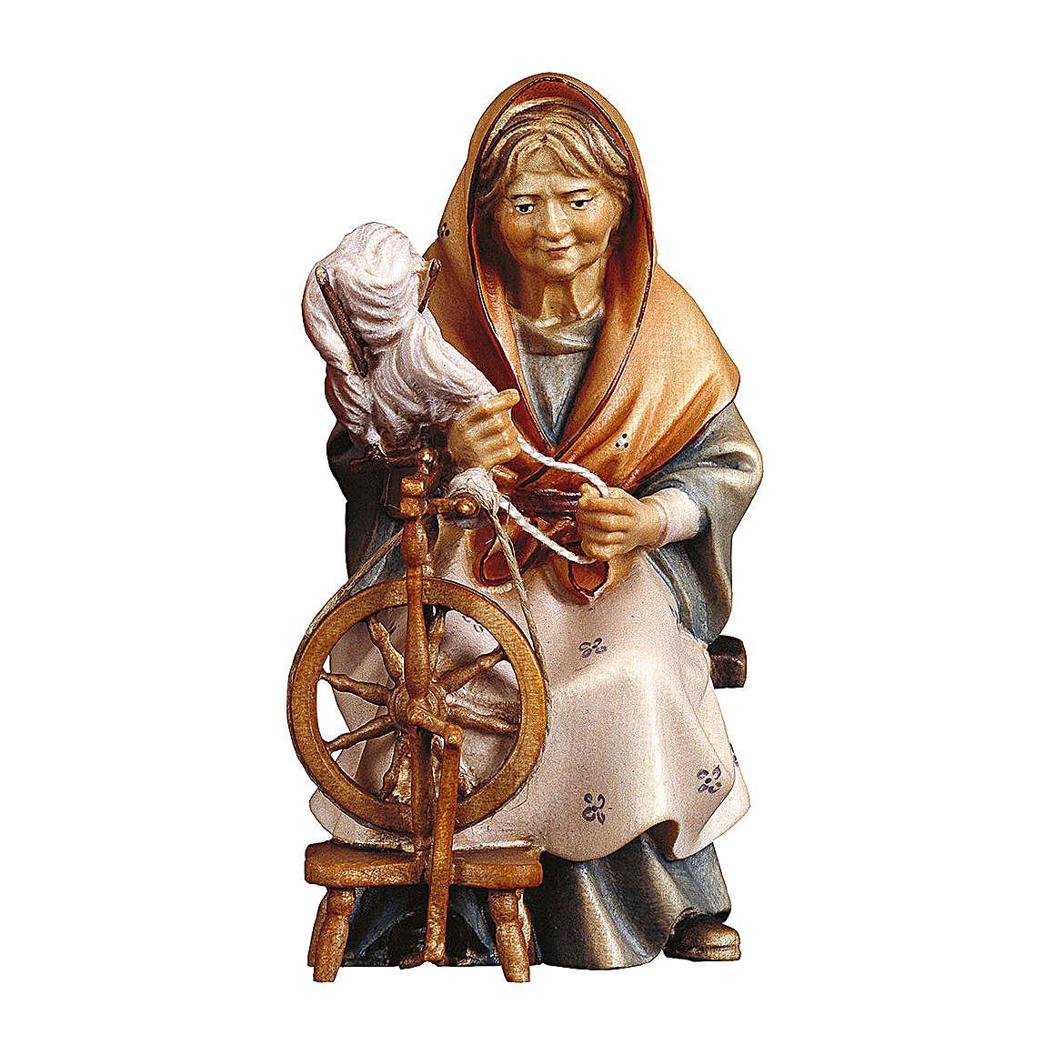 Anziana contadina con filatoio presepe Original Pastore legno dipinto in Valgardena 10 cm 4
