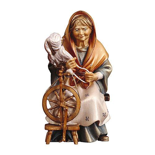 Anziana contadina con filatoio presepe Original Pastore legno dipinto in Valgardena 10 cm 1