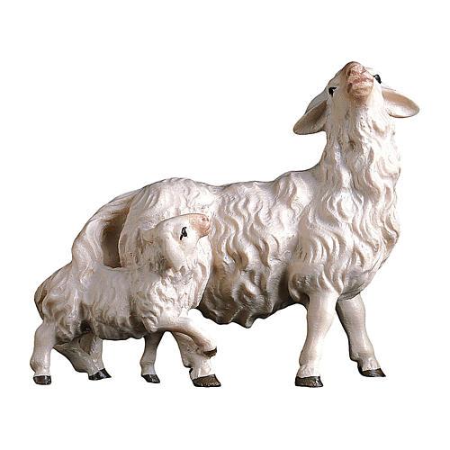 Pecora con agnello dietro presepe Original Pastore legno dipinto in Val Gardena 12 cm 1