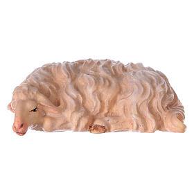 Pecora che dorme presepe Original Pastore legno dipinto in Val Gardena 10 cm s1