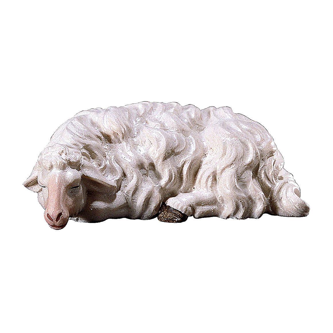 Pecora che dorme per presepe Original Pastore legno dipinto in Valgardena 12 cm 4
