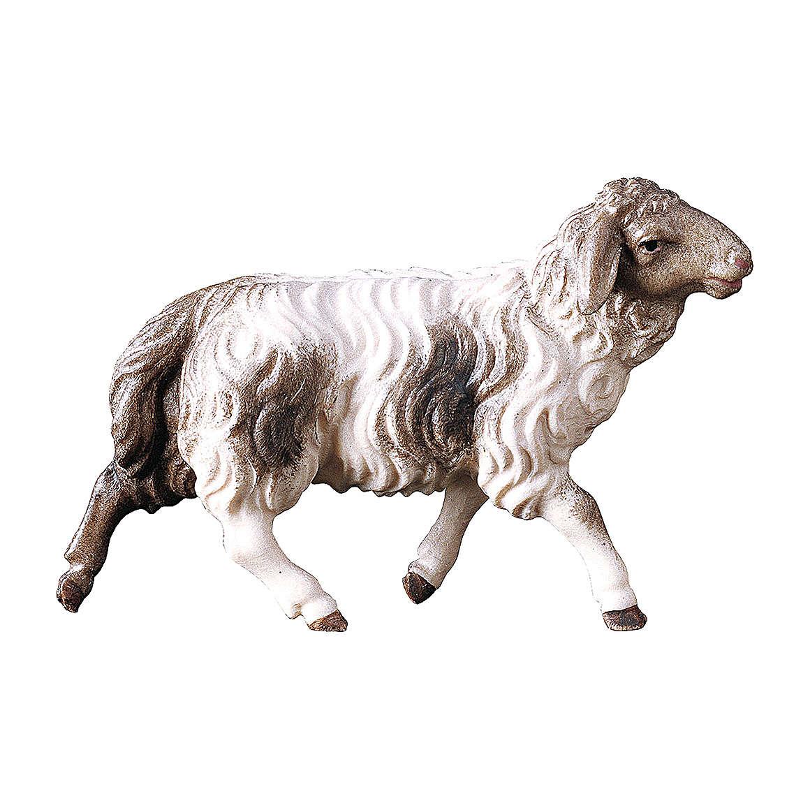 Pecora che corre macchiata presepe Original Pastore legno dipinto in Val Gardena 10 cm 4